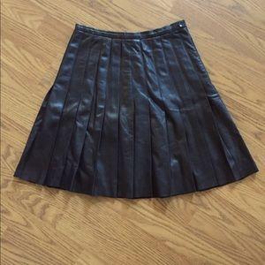 Burberry Leather Pleated Mini Skirt
